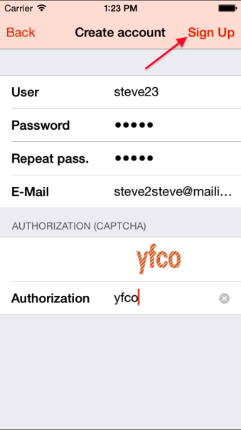 Type in your username, password and captscha