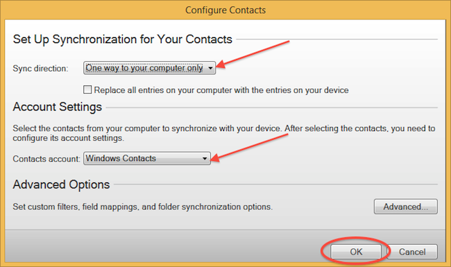 Select Sync direction, Contacts account and press OK