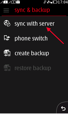 Choose Sync with server