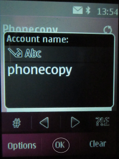 Type Phonecopy into box Account name.