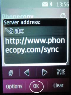 Type http://www.phonecopy.com/sync into box Server Address.