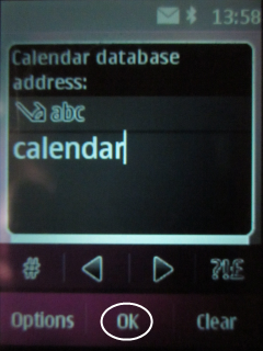 Select Calendar database and type Calendar